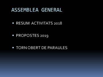 Assemblea General Ordinària (memòria 2018 i propostes 2019)